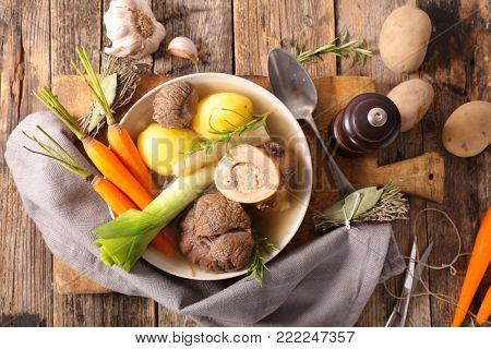 pot au feu, beef with broth and vegetable