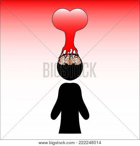 image of a man possessed by feelings. A heart that has taken root in the brain. Vector illustration.