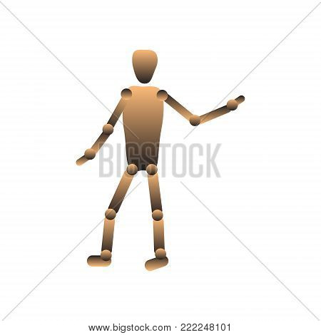 Hinged doll, puppet. Faceless figure Vector illustration