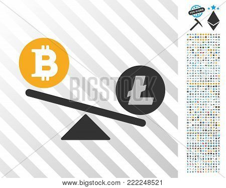 Bitcoin Litecoin Balance Swing pictograph with 700 bonus bitcoin mining and blockchain clip art. Vector illustration style is flat iconic symbols design for bitcoin software.