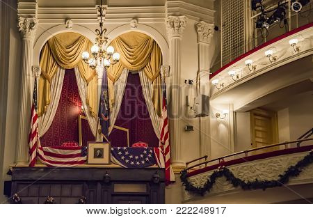 WASHINGTON, DC - DECEMBER 20: The historic Ford's Theatre, the site of President Lincoln's assassination, continues to host theater productions today, on December 20, 2017 in Washington DC