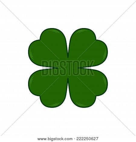 Saint Patricks Day symbol - four-leaf clover. Lucky shamrock. Isolated on white background. Vector illustration.