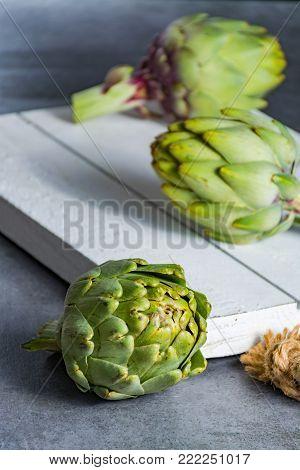 Green Ripe Raw Artichokes Ready To Cook