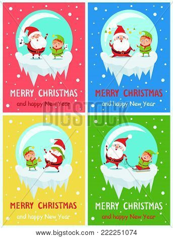 Merry Christmas Happy New Year greeting card Santa and Elf singing carol songs, fatigue with stars over head, playing hide-and-seek, ride sledge vector
