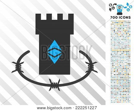 Ethereum Classic Bulwark pictograph with 700 bonus bitcoin mining and blockchain pictures. Vector illustration style is flat iconic symbols design for bitcoin software.