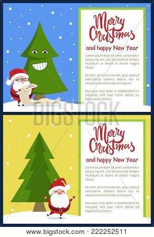 Merry Christmas and Happy New Year greeting card with Santa reading wish list and standing on one leg near Xmas tree on snowy backdrop vector banners.