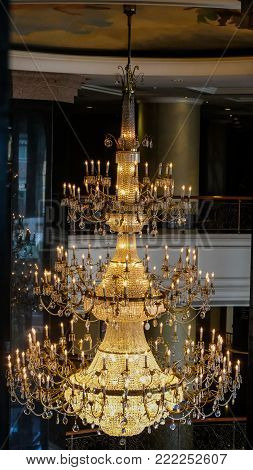 elegant crystal chandelier beautiful in the background