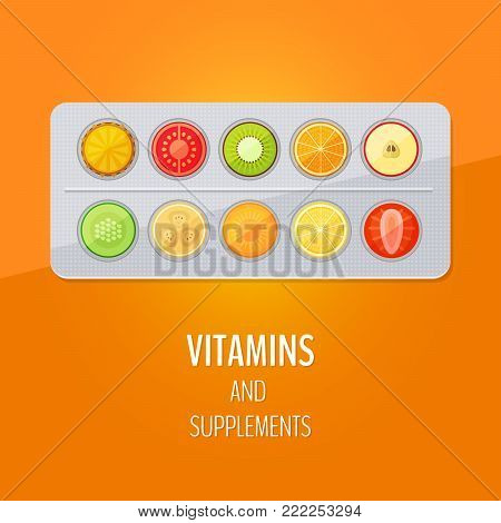 Medical capsule with fruit and vegetables. Vitamins and supplements. Different fruit in capsule. Flat style, vector illustration.