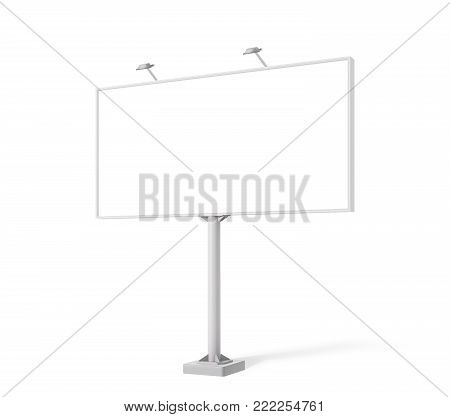Realistic Blank billboard mock up isolated on white background. Use this photorealistic day mockup for your outdoor design.