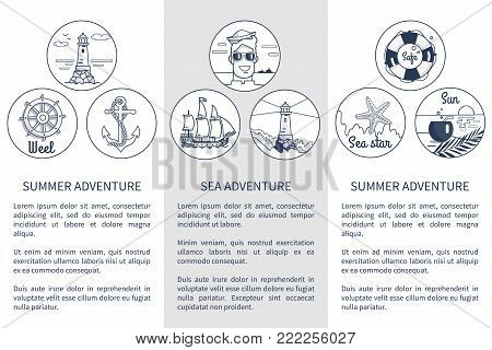 Set of black-and-white posters dedicated to summer and sea adventures. Vector illustration of things and objects found at seaside or not far from it