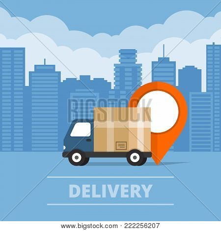 Delivery Service. Delivery Truck  On City Background. Flat Style, Vector Illustration.
