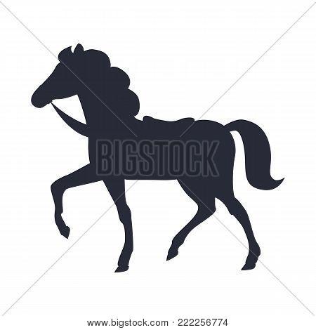 Cartoon horse black silhouette vector illustration isolated on white background. Pony with bushy tail, saddle and horseshoes raises one leg