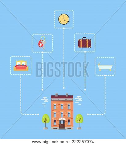 Set of icons above hotel with trees. Isolated vector illustration of double bed, key and clock, classic suitcase and bathtub on blue background