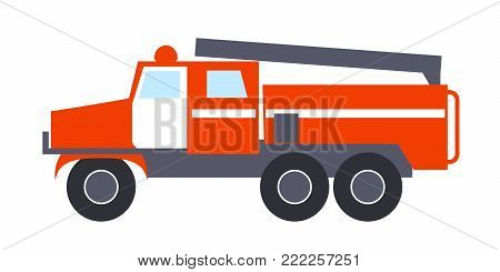 Fire engine with ladder, big round wheels, two windows, siren, white doors, big compartment in the rear isolated vector illustration on white
