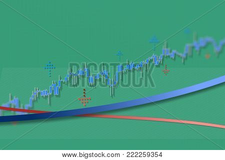 Growing stock market chart with long shadows on green grid background. Color stock market graph with lines. 3D illustration for option, forex, exchange market. Growth market trend line graphs illustration.