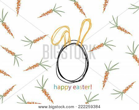 Background image of orange carrots with green leaves, Easter egg with rabbit ears.