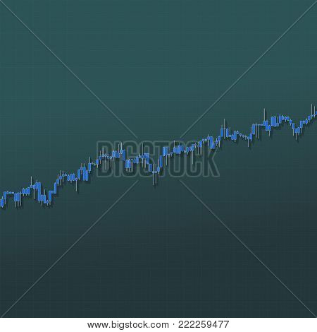 Trend stock market bars with long shadows on blue background. Color market graph. 3D illustration for option, forex, exchange