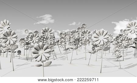 Ambient Occlusion image of psychedelic flowers on an undulating field and sparsely populated sky