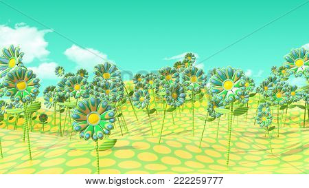 Psychedelic Flowers of green and yellow Field on polka dot Field