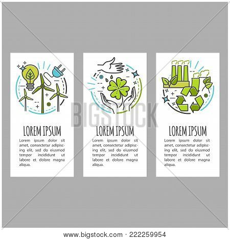 Ecology, green technology, organic, bio. Vector cartoon banner set with thin line icons for your design