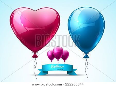 Pink and blue balloons realistic Vector. Heart shape shinny detailed 3d balloon
