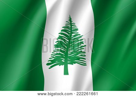 Norfolk Island realistic flag. Patriotic symbol in official country colors. Illustration of Oceania state flag. Vector icon