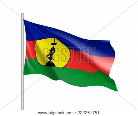 Waving flag of New Caledonia. Illustration of Oceania country flag on flagpole. Vector 3d icon isolated on white background