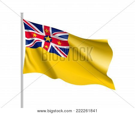 Waving flag of Niue. Illustration of Oceania country flag on flagpole. Vector 3d icon isolated on white background
