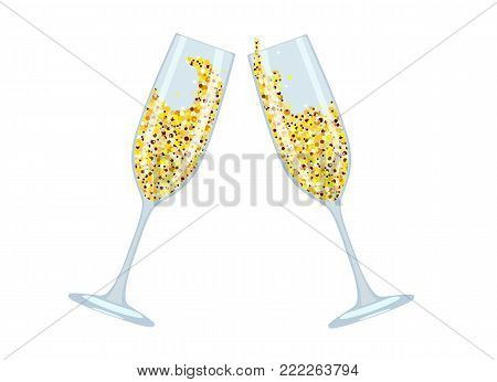 Vector image of festive wine glasses with champagne and bubbles in form of sparkles of confetti. Congratulatory toast. Object isolated on white background.