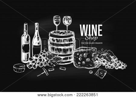 Wine shop concept. Vector hand drawn illustration. Background, cover template on chalkboard