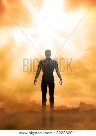 3D render illustration of a near death experience, facing the afterlife, the gates of heaven