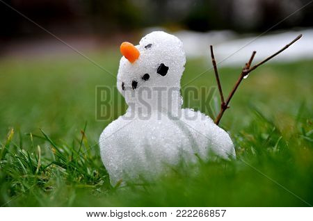 Small snowman braves the thaw period in springtime