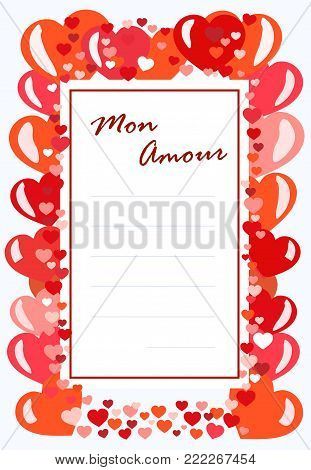 Vector template-postcard Mon Amour with edging of red hearts and lines for text. Suitable for love confessions, notes on Valentine's Day. The concept of writing to a loved one.
