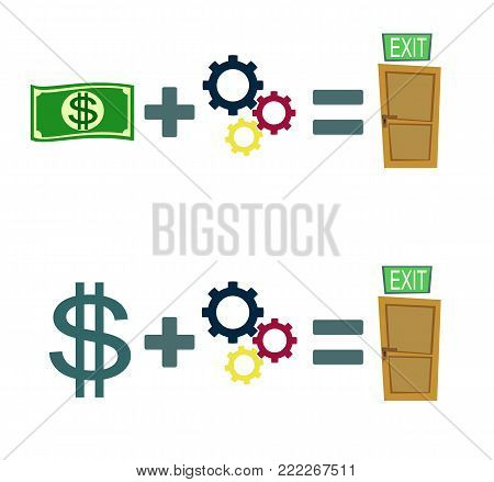 Way to exit concept. Money and ideas helps to find a way out. Way to exit concept. Set. Stock flat vector illustration.