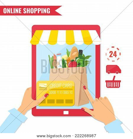 Online shopping, e-commerce concept. Tablet computer with online shop and hand with credit card. Vector illustration.