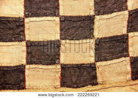 Traditional African burlap textile pattern