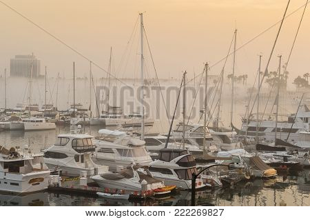 A foggy morning in the Marina del Rey California main channel
