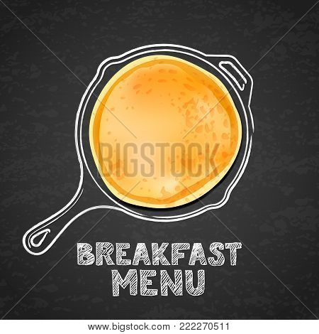 Pancake And Hand Drawn Outline Watercolor Pan, On Black Board Slate Background. Vector Design For Br