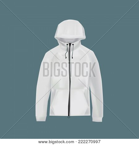 Mockup of men s clothes. Men's Jacket with hood, with long sleeve. Clothes in light, white colors. Template fashion clothes mockup tshirt sweatshirt. Front view. Vector illustration.