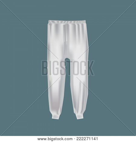 Mock-up of men's clothing, templates. Men's sports pants, trousers for active sports. White version of the template. Outer clothing in light colors. Fashionable clothes mock-up. Vector illustration.