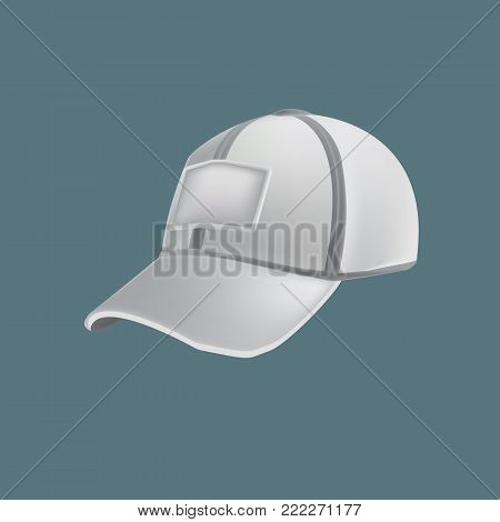 Realistic mockup men's clothes, accessories. Clothes in white color. Beautiful sports cap, baseball cap, youth headdress. Template fashion cloth, accessories, mockup. Front view. Vector illustration