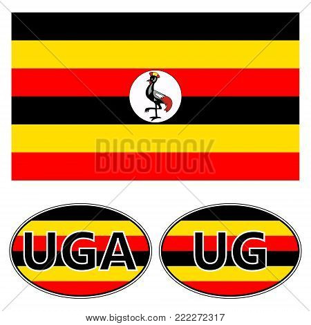 Flag and stickers on the car of Uganda, vector sticker flag of Uganda with the acronym, UG and UGA, knuckles vrchat meme