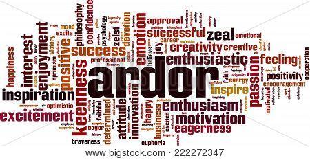 Ardor word cloud concept. Vector illustration on white