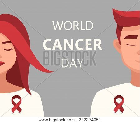 World Cancer day card 4 february. Vector cartoon Woman and Man Red Ribbon World Cancer Day.vector illustration for the world day of fight against AIDS.Medical illustration