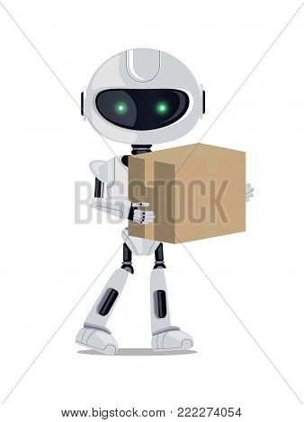 Robot standing with parcel, cyborg with shining green eyes carrying box, delivery made by technology, vector illustration, isolated on white