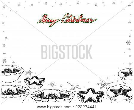 Illustration Frame of Hand Drawn Sketch of A Traditional Christmas Mince Pies Filled with A Mixture of Dried Fruits and Spices Served During The Christmas Season.