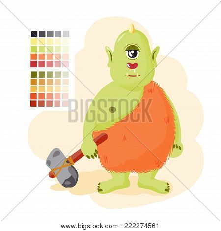 The Cyclops keeps the hammer. The troll has a runny nose. Stupid character villain. vector illustration
