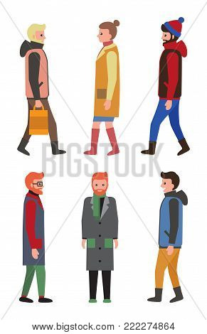 People in winter coats profile and front view, citizens collection of icons, man and women wearing warm clothes in cold weather, isolated vector