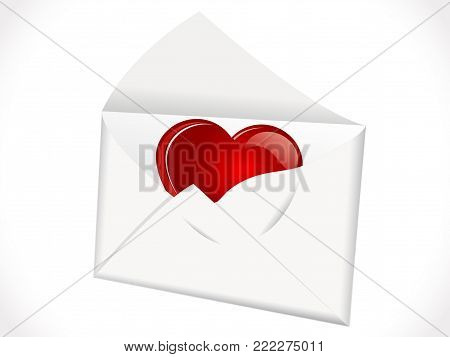 Open envelope with big red heart inside