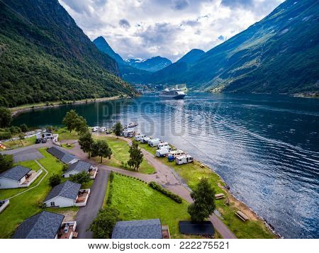 Geiranger fjord, Beautiful Nature Norway. It is a 15-kilometre (9.3 mi) long branch off of the Sunnylvsfjorden, which is a branch off of the Storfjorden aerial photography.